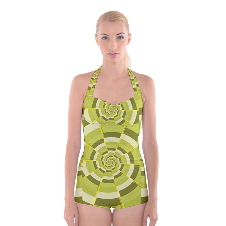Crazy Dart Green Gold Spiral Boyleg Halter Swimsuit