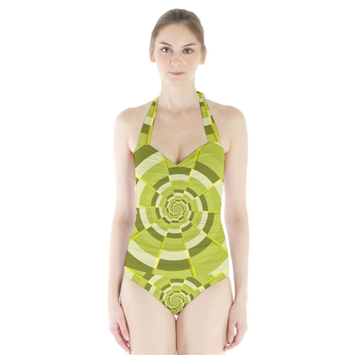 Crazy Dart Green Gold Spiral Halter Swimsuit