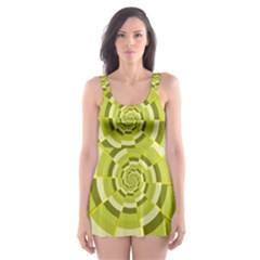 Crazy Dart Green Gold Spiral Skater Dress Swimsuit