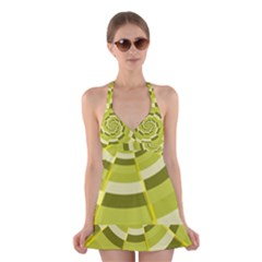 Crazy Dart Green Gold Spiral Halter Swimsuit Dress