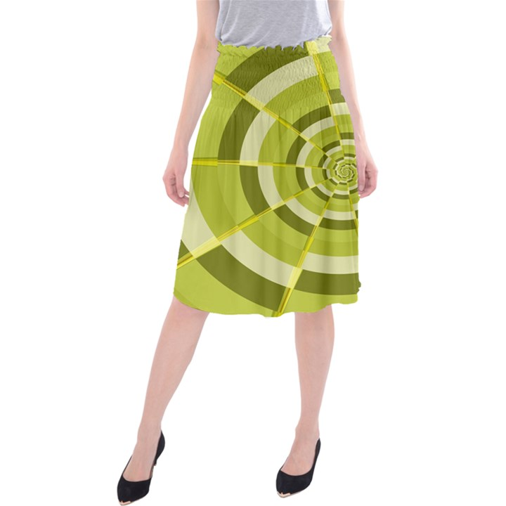 Crazy Dart Green Gold Spiral Midi Beach Skirt
