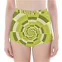 Crazy Dart Green Gold Spiral High-Waisted Bikini Bottoms View1