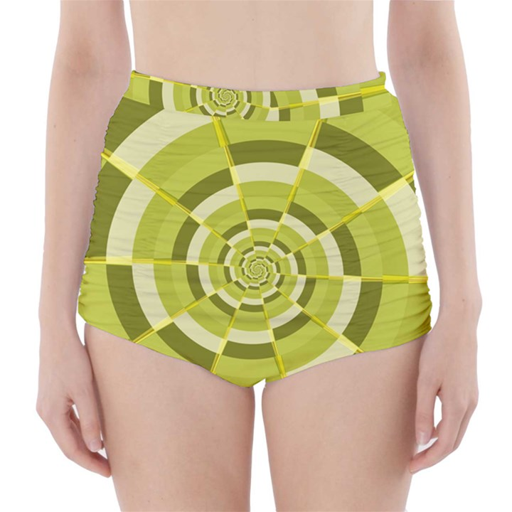 Crazy Dart Green Gold Spiral High-Waisted Bikini Bottoms