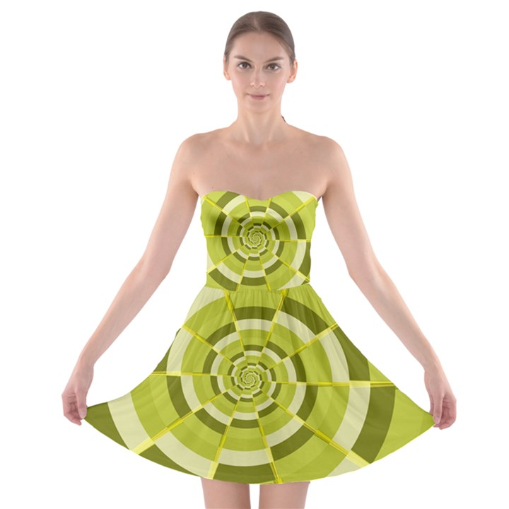 Crazy Dart Green Gold Spiral Strapless Bra Top Dress