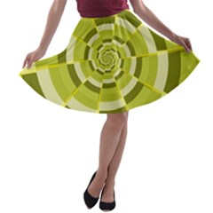 Crazy Dart Green Gold Spiral A-line Skater Skirt