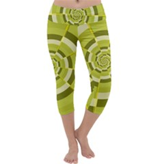 Crazy Dart Green Gold Spiral Capri Yoga Leggings
