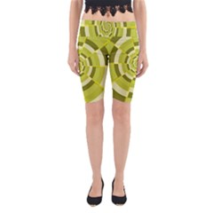 Crazy Dart Green Gold Spiral Yoga Cropped Leggings