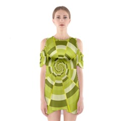 Crazy Dart Green Gold Spiral Cutout Shoulder Dress