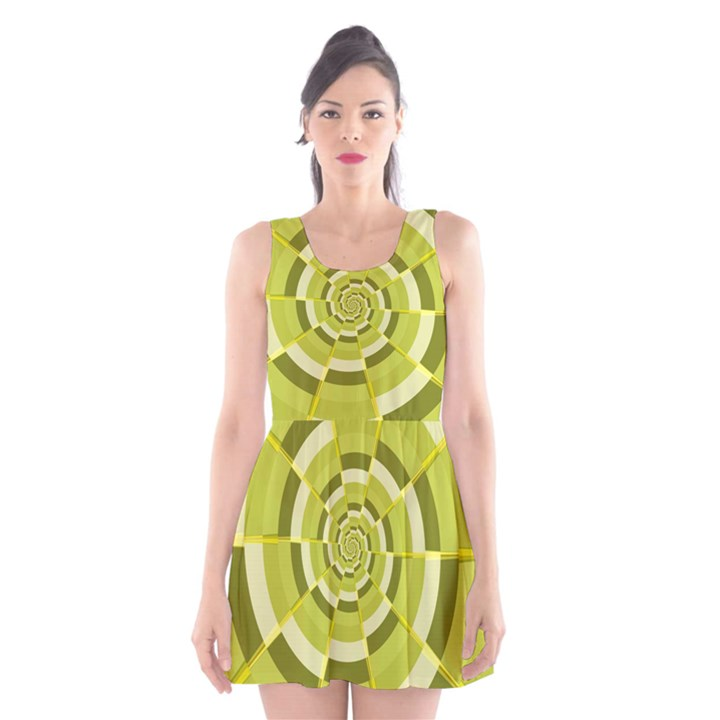 Crazy Dart Green Gold Spiral Scoop Neck Skater Dress