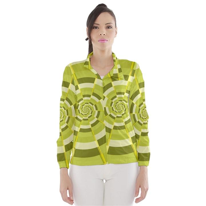 Crazy Dart Green Gold Spiral Wind Breaker (Women)