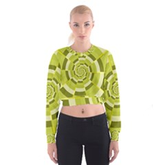 Crazy Dart Green Gold Spiral Women s Cropped Sweatshirt