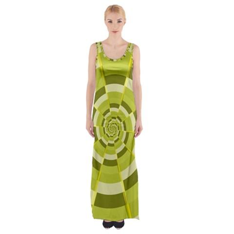 Crazy Dart Green Gold Spiral Maxi Thigh Split Dress