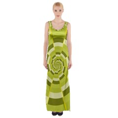 Crazy Dart Green Gold Spiral Maxi Thigh Split Dress