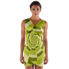 Crazy Dart Green Gold Spiral Wrap Front Bodycon Dress