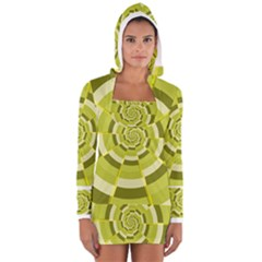 Crazy Dart Green Gold Spiral Women s Long Sleeve Hooded T Shirt