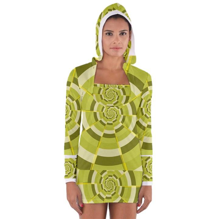 Crazy Dart Green Gold Spiral Women s Long Sleeve Hooded T-shirt