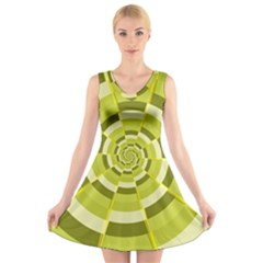 Crazy Dart Green Gold Spiral V Neck Sleeveless Skater Dress