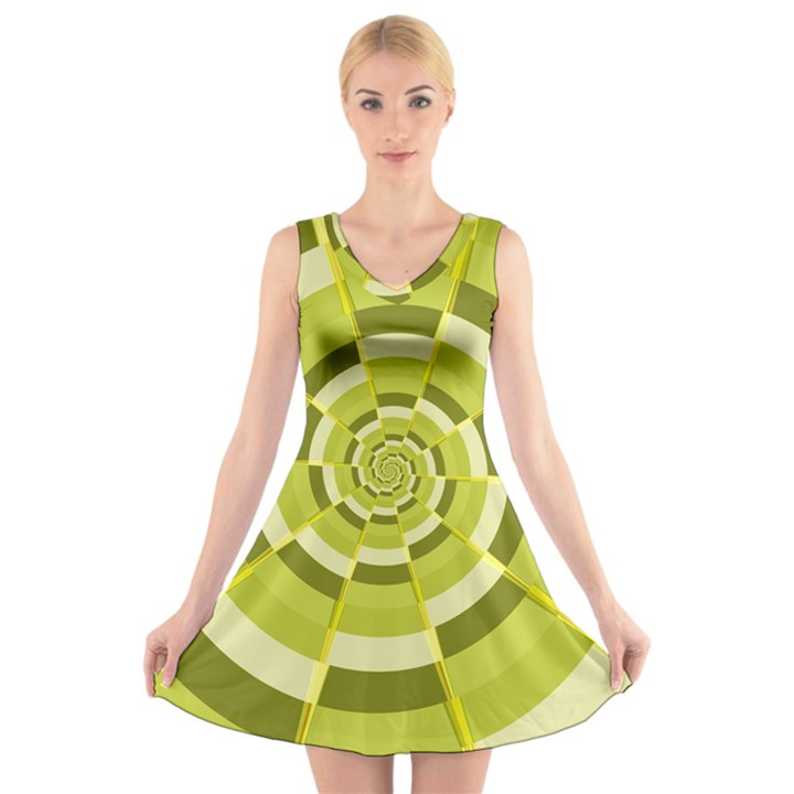 Crazy Dart Green Gold Spiral V-Neck Sleeveless Skater Dress