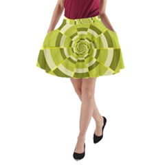 Crazy Dart Green Gold Spiral A Line Pocket Skirt