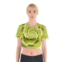 Crazy Dart Green Gold Spiral Cotton Crop Top