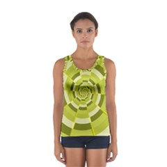 Crazy Dart Green Gold Spiral Women s Sport Tank Top