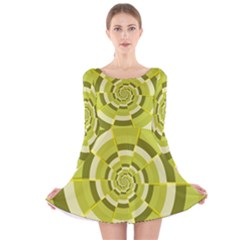 Crazy Dart Green Gold Spiral Long Sleeve Velvet Skater Dress