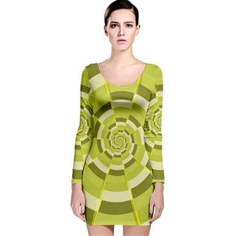 Crazy Dart Green Gold Spiral Long Sleeve Velvet Bodycon Dress