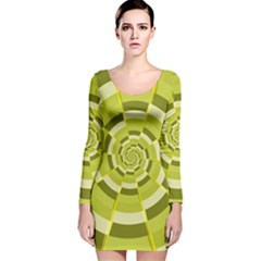 Crazy Dart Green Gold Spiral Long Sleeve Velvet Bodycon Dress