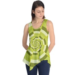 Crazy Dart Green Gold Spiral Sleeveless Tunic