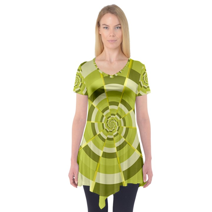 Crazy Dart Green Gold Spiral Short Sleeve Tunic