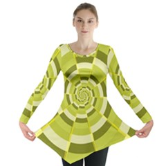 Crazy Dart Green Gold Spiral Long Sleeve Tunic