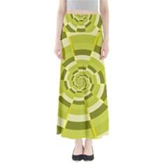 Crazy Dart Green Gold Spiral Maxi Skirts
