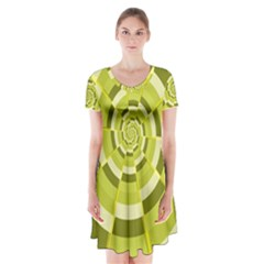 Crazy Dart Green Gold Spiral Short Sleeve V Neck Flare Dress