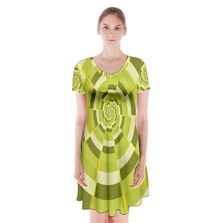 Crazy Dart Green Gold Spiral Short Sleeve V-neck Flare Dress