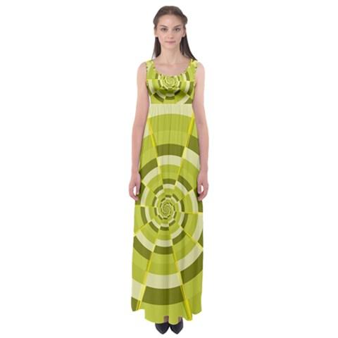Crazy Dart Green Gold Spiral Empire Waist Maxi Dress