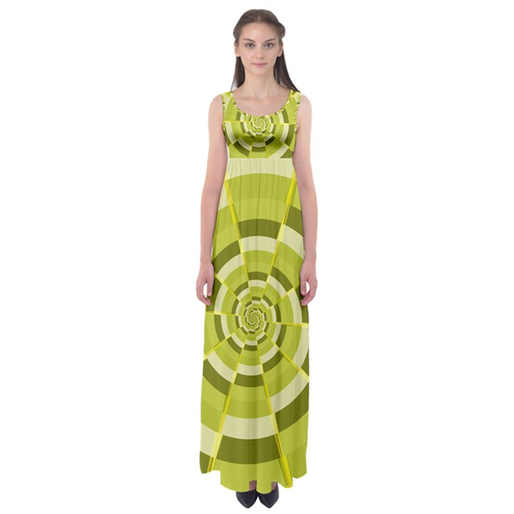 Crazy Dart Green Gold Spiral Empire Waist Maxi Dress