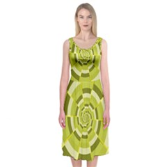 Crazy Dart Green Gold Spiral Midi Sleeveless Dress