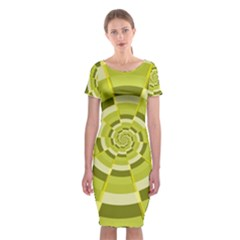 Crazy Dart Green Gold Spiral Classic Short Sleeve Midi Dress