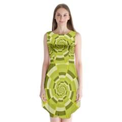 Crazy Dart Green Gold Spiral Sleeveless Chiffon Dress