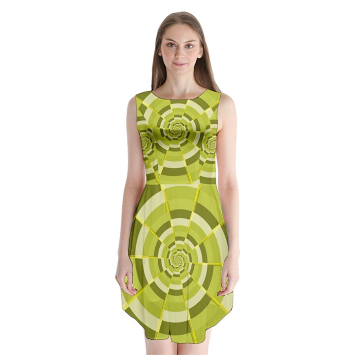 Crazy Dart Green Gold Spiral Sleeveless Chiffon Dress