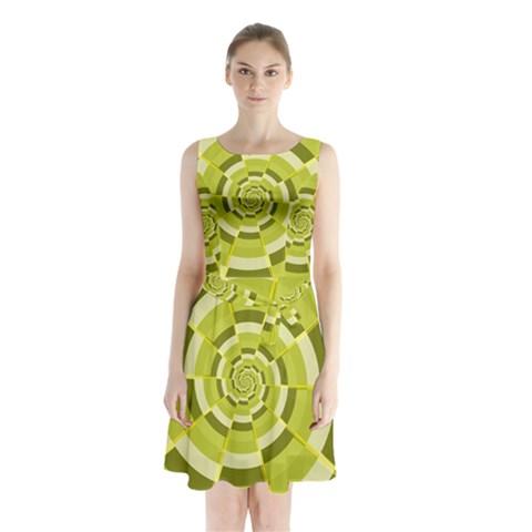 Crazy Dart Green Gold Spiral Sleeveless Chiffon Waist Tie Dress