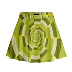 Crazy Dart Green Gold Spiral Mini Flare Skirt