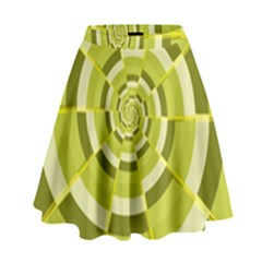 Crazy Dart Green Gold Spiral High Waist Skirt