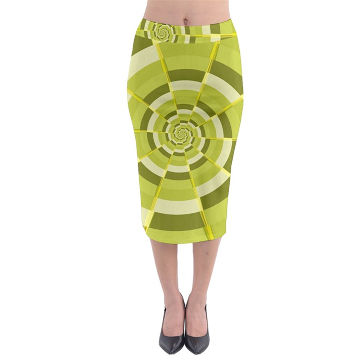 Crazy Dart Green Gold Spiral Midi Pencil Skirt