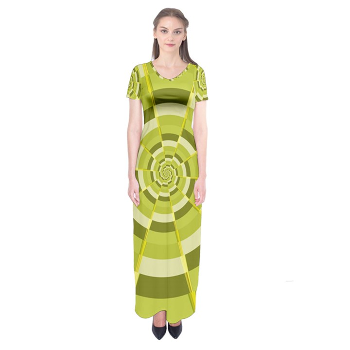 Crazy Dart Green Gold Spiral Short Sleeve Maxi Dress