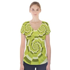 Crazy Dart Green Gold Spiral Short Sleeve Front Detail Top