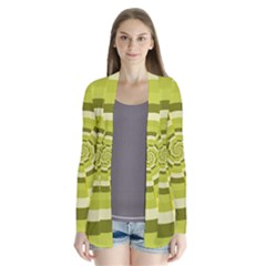 Crazy Dart Green Gold Spiral Drape Collar Cardigan