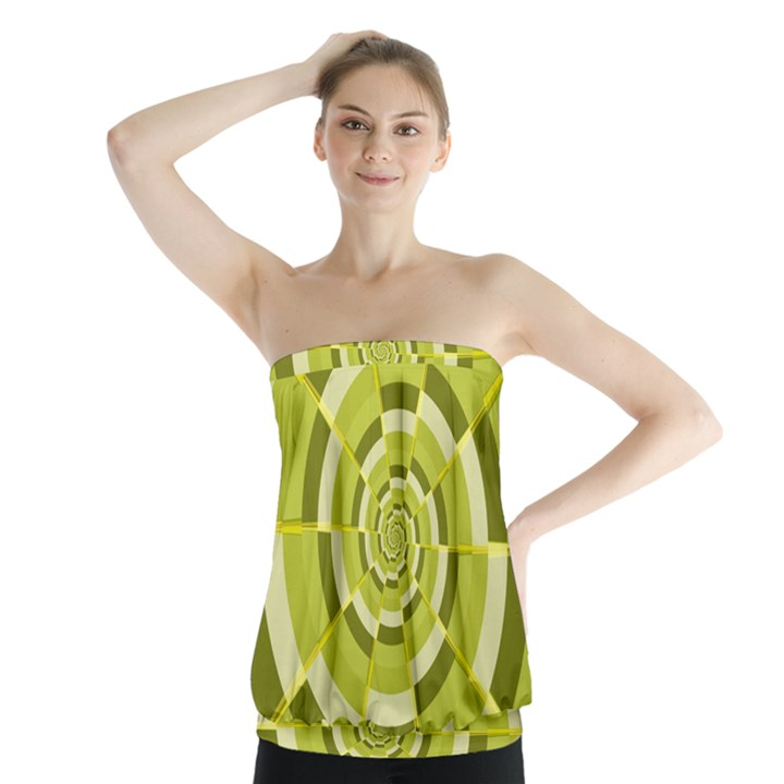 Crazy Dart Green Gold Spiral Strapless Top