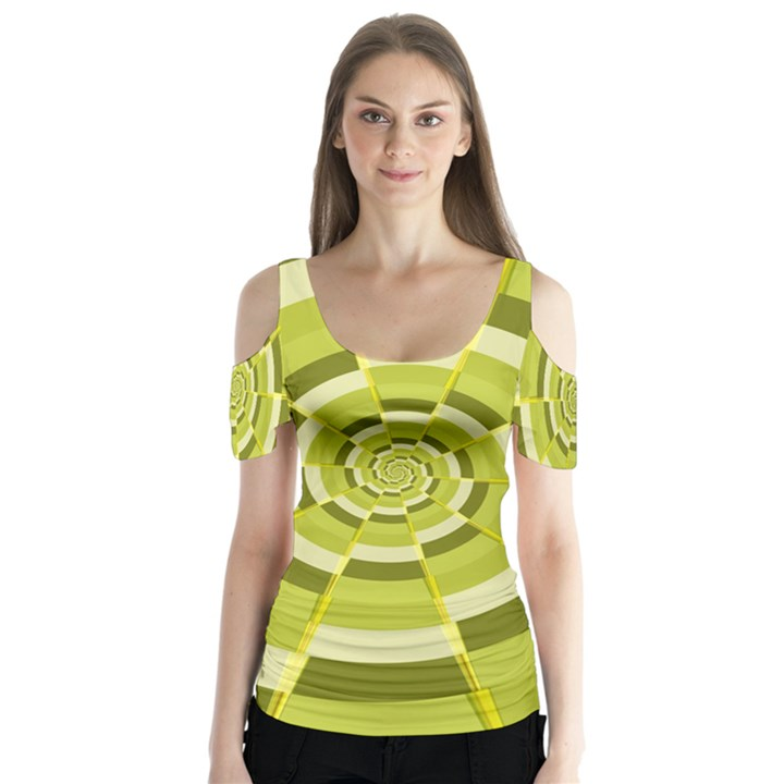 Crazy Dart Green Gold Spiral Butterfly Sleeve Cutout Tee