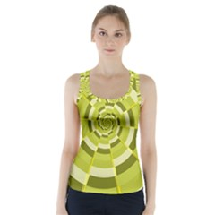 Crazy Dart Green Gold Spiral Racer Back Sports Top